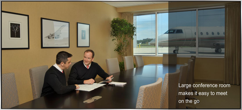 Large conference room makes it easy to meet on the go